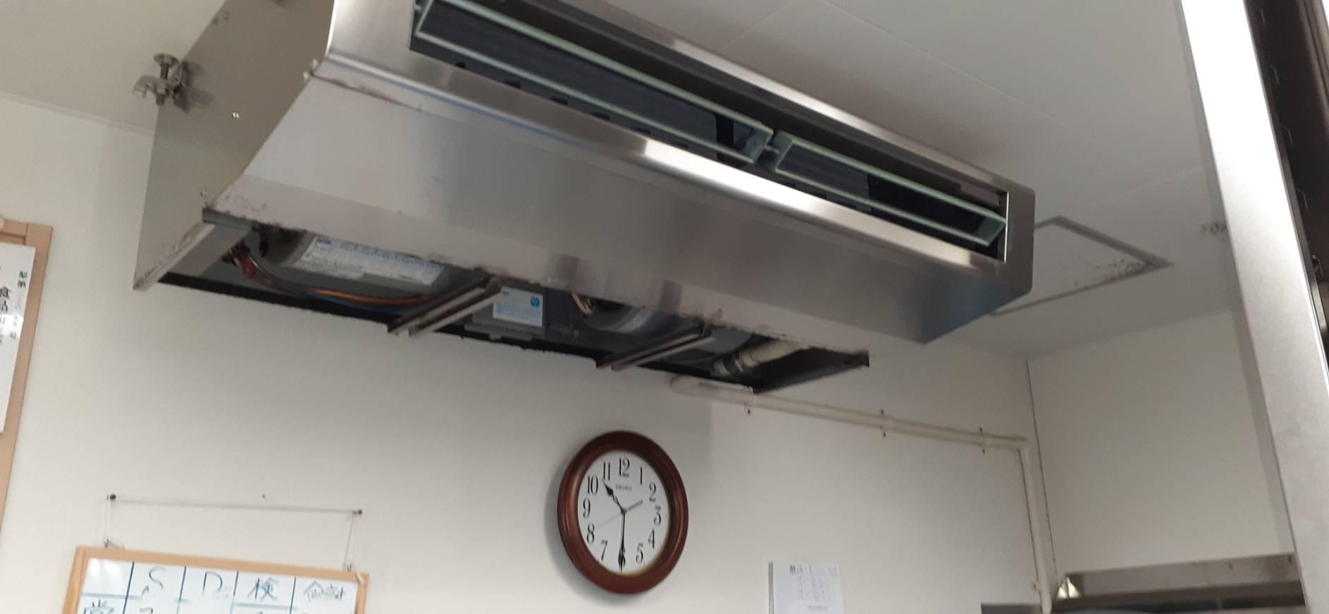 三菱電機PC-RP80HA6 ステンレス天吊りエアコンの分解洗浄及びドレーン管の清掃